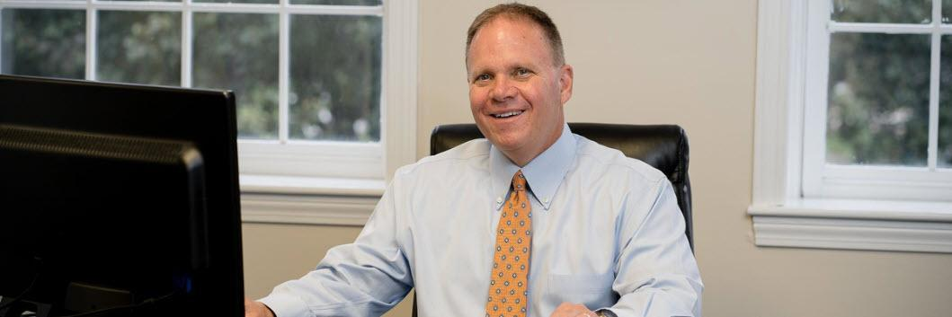 Stephen M. Leavitt, MS, CFP® in his Newburyport, MA office